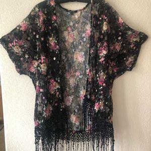 Kimono style cover up blouse